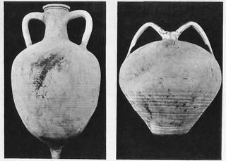 Амфора с издуто набраздено тяло, V - VI в. пр. н.е. --- Средновековна амфора със сфероидно тяло, XII-XIII в. пр. н.е.