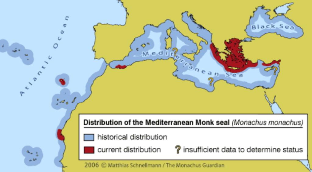 Историческо/ със син цвят/ и съвременно/ с керемиден цвят/ разпространение на Средиземноморския тюлен монах. Отбелязан е и непотвърдения статус.