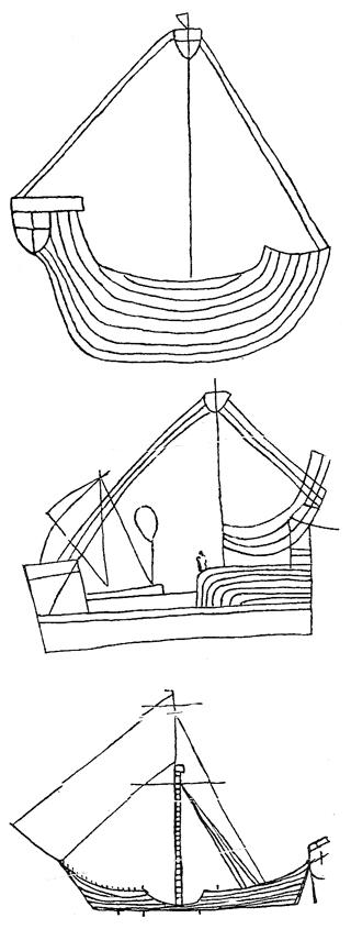 Рисунки на лодки и кораби със средна големина от Хагия София. Трапезунд