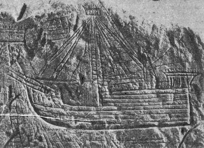Скално изображение на средновековен кораб