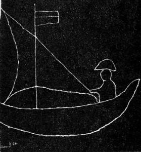 Изображение на рибарска лодка в гробница от Meстността Акчилар край Варна.