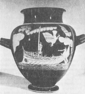 Гръцки кораб - Одисей и сирените /червено фигурен стамнос - керамичен съд за вино