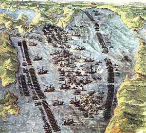 """""""Битката при Лепанто"""" - гравюра от Фернандо Бертели (1572 г.)"""