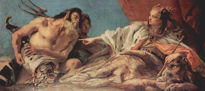 """""""Нептун предлага на Венеция даровете на морето"""", картина на Тиеполо"""