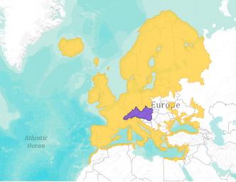 Географско разпространение на европейската змиорка. Със жълт цвят – резидентни, със син цвят – интродуцирани.