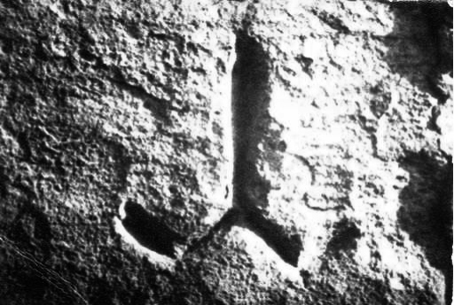 Изображение (графит) на Y- образна котва върху камък от крепостната стена на първата българска столица Плиска.