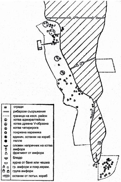 Карта на котвеното находище с над 20 Y - образни котви под нос Калиакра (август 1965 г.). Мащаб 1:2500 (съставител автора).