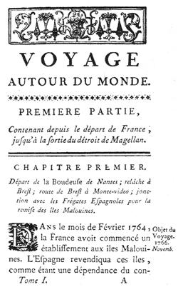 Заглавна страница от мемоарите на Бугенвил