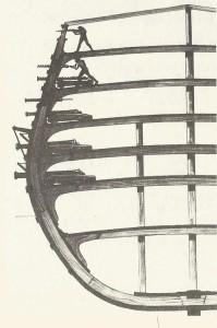 Разрез на военен кораб от 1545 г