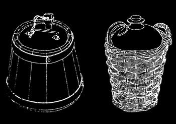 Корабни съдове за съхранение на ром /вляво/ и на вино и оцет /вдясно/