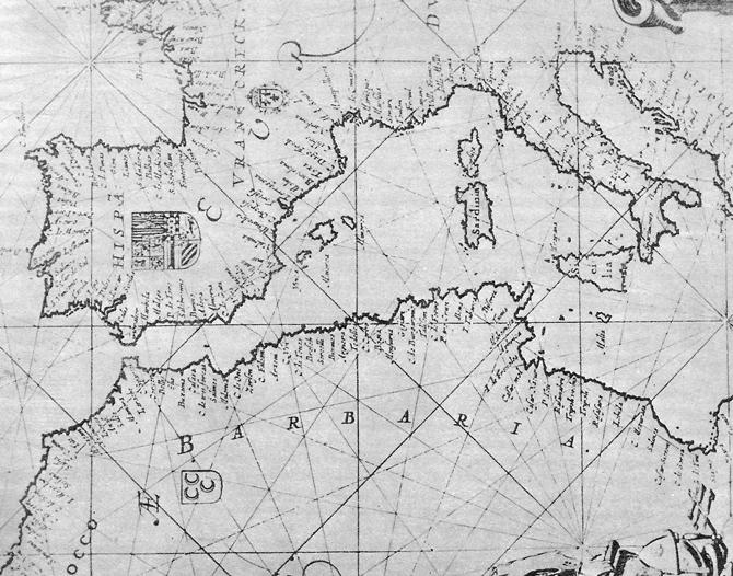 Една от първите морски печатни карти от XVII век, издадена в Амстердам
