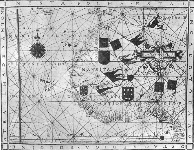 Португалска морска карта от атласа на Фернан Вац Дорадо от 1571 година, изпитала влиянието на портуланите