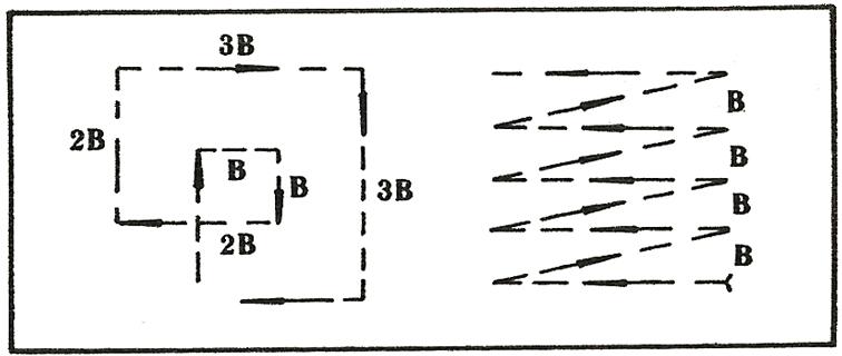 Схема на търсене с лаго-компасна установка.
